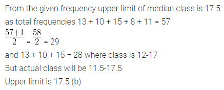 Understanding Mathematics Class 10 Solutions Chapter 21 Measures of Central Tendency MCQS Q12.1
