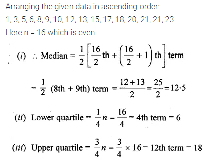 Understanding ICSE Mathematics Class 10 ML Aggarwal Solutions Chapter 21 Measures of Central Tendency Chapter Test Q17