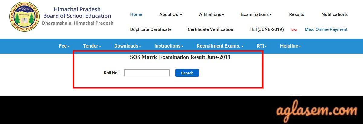 HPSOS 10th Supplementary Result 2019
