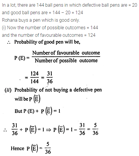 ML Aggarwal Maths for Class 10 Solutions Pdf Download Chapter 22 Probability Chapter Test Q3