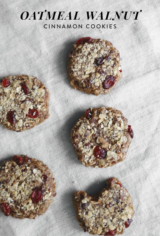 Oatmeal Walnut Cinnamon Cookies (No-Bake, Vegan)