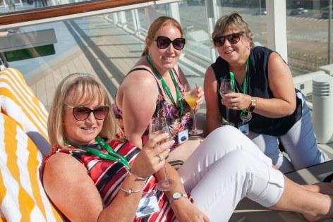 Saga Spirit of Discovery VIP Trade Event 2-4 July 2019 - Deborah Solway, Kayleigh Michael, both Crosskeys Travel, Carol Hunter, Kyle Travel