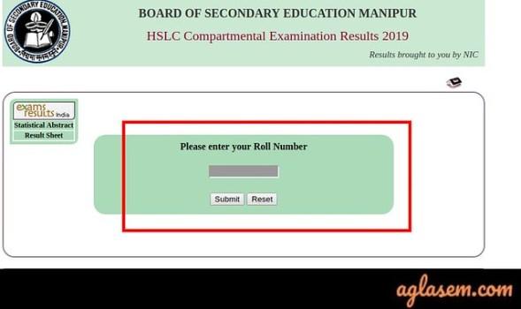 Manipur HSLC Compartmental Result 2019