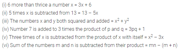 ML Aggarwal Class 7 Solutions for ICSE Maths Chapter 8 Algebraic Expressions Ex 8.1 Q1