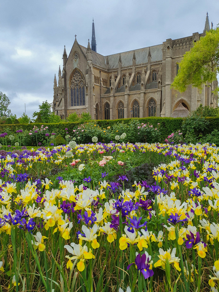 View of the Collector Earl's Garden wit the Arundel Cathedral in the background