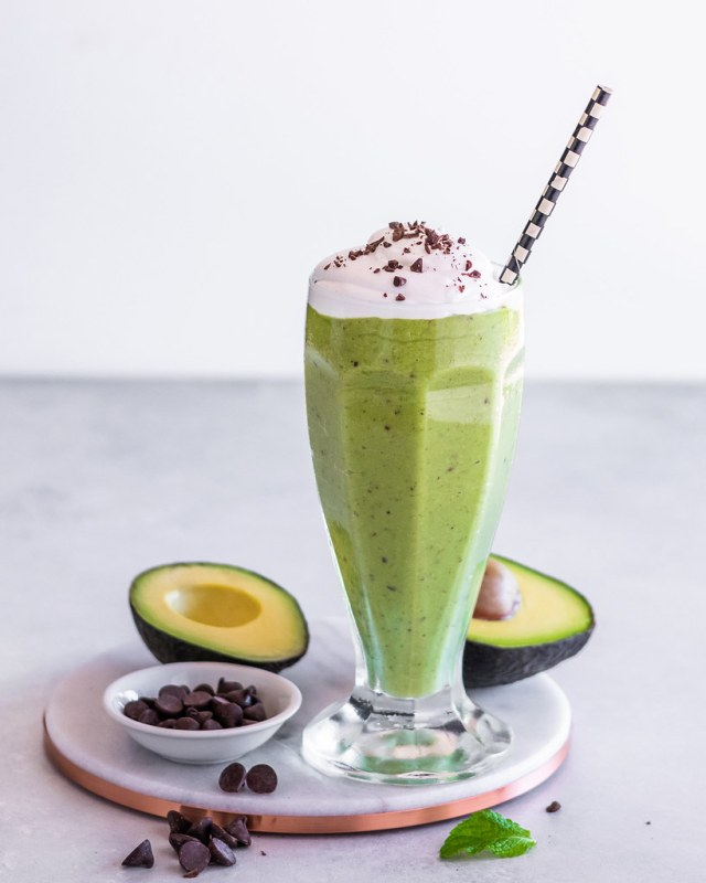 vegan mint chip avocado milkshake