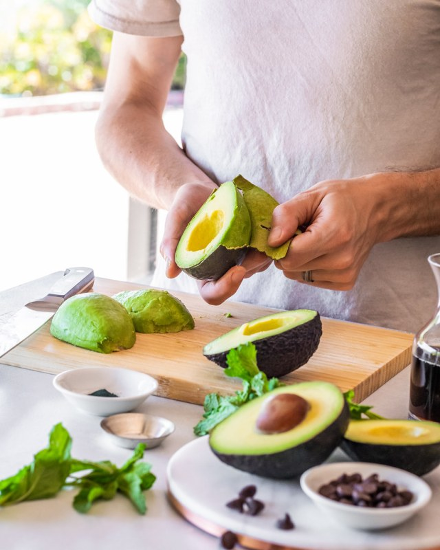 if the avocados don't peel easily, they can also be scooped out with a spoon