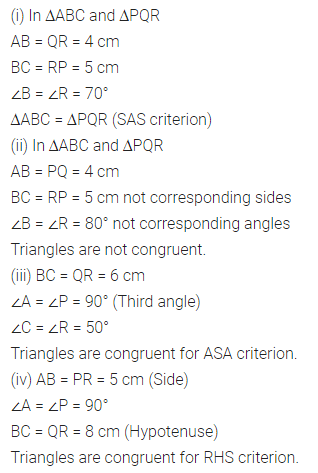 ML Aggarwal Class 7 Solutions for ICSE Maths Chapter 12 Congruence of Triangles Check Your Progress Q2.1
