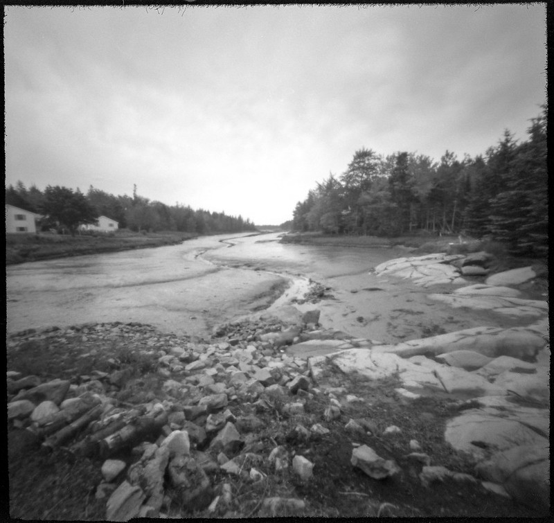 mud flats,low tide, rocky coastline, bolder, Saint George Peninsula, Maine, 6x6 pinhole, Arista.Edu 200, HC-110 developer, 7.18.19 jpg