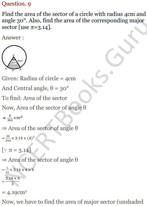 KC Sinha Maths Solutions Class 10 Chapter 13.Areas Related to circles - Ex 13 - 9