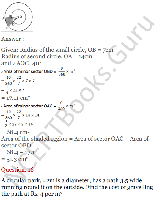 KC Sinha Maths Solutions Class 10 Chapter 13.Areas Related to circles - Ex 13 - 15