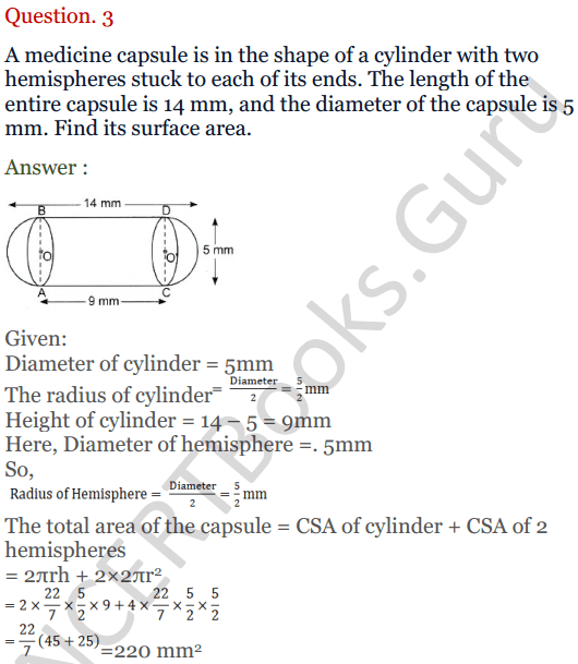 KC Sinha Maths Solutions Class 10 Chapter 14. Surface Areas and volumes - Ex 14.2 - 3