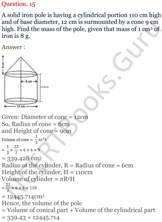 KC Sinha Maths Solutions Class 10 Chapter 14. Surface Areas and volumes - Ex 14.2 - 19