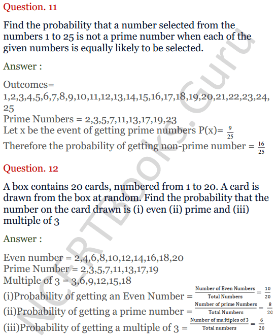 KC Sinha Maths Solutions Class 10 Chapter 15. Probability Ex.15 - 9
