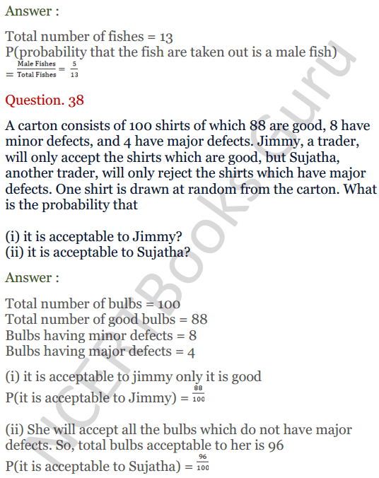 KC Sinha Maths Solutions Class 10 Chapter 15. Probability Ex.15 - 28