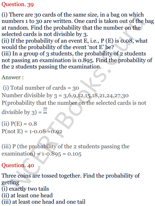 KC Sinha Maths Solutions Class 10 Chapter 15. Probability Ex.15 - 29