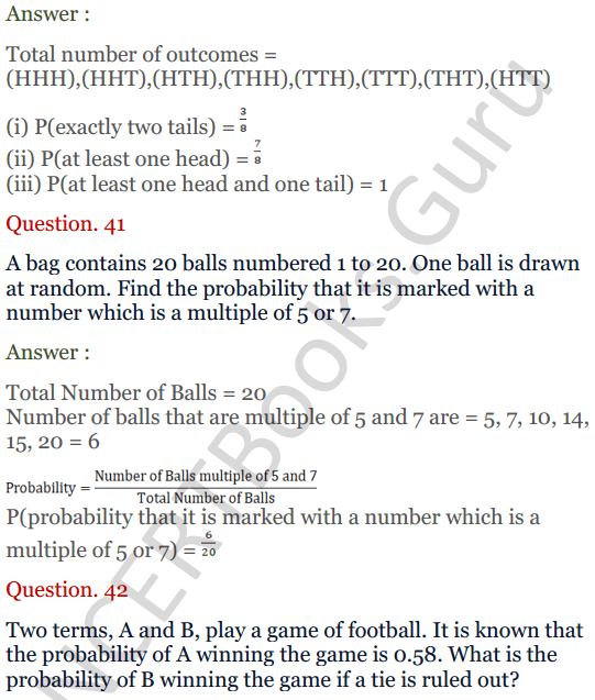 KC Sinha Maths Solutions Class 10 Chapter 15. Probability Ex.15 - 30