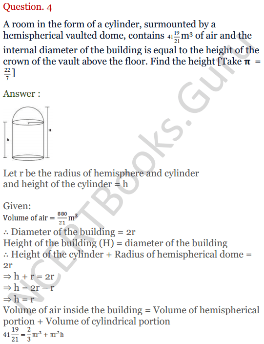 KC Sinha Maths Solutions Class 10 Chapter 14. Surface Areas and volumes - Ex 14.2 - 4