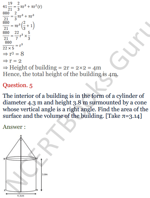 KC Sinha Maths Solutions Class 10 Chapter 14. Surface Areas and volumes - Ex 14.2 - 5