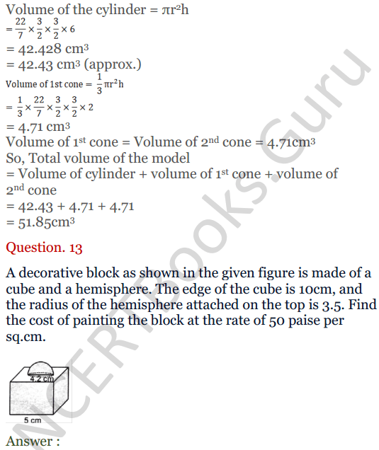 KC Sinha Maths Solutions Class 10 Chapter 14. Surface Areas and volumes - Ex 14.2 - 16