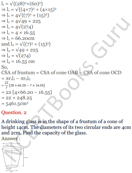 KC Sinha Maths Solutions Class 10 Chapter 14. Surface Areas and volumes - Ex 14.4 - 3