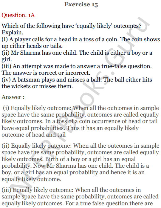KC Sinha Maths Solutions Class 10 Chapter 15. Probability Ex.15 - 1