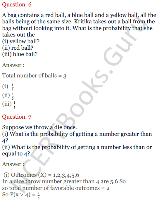KC Sinha Maths Solutions Class 10 Chapter 15. Probability Ex.15 - 6