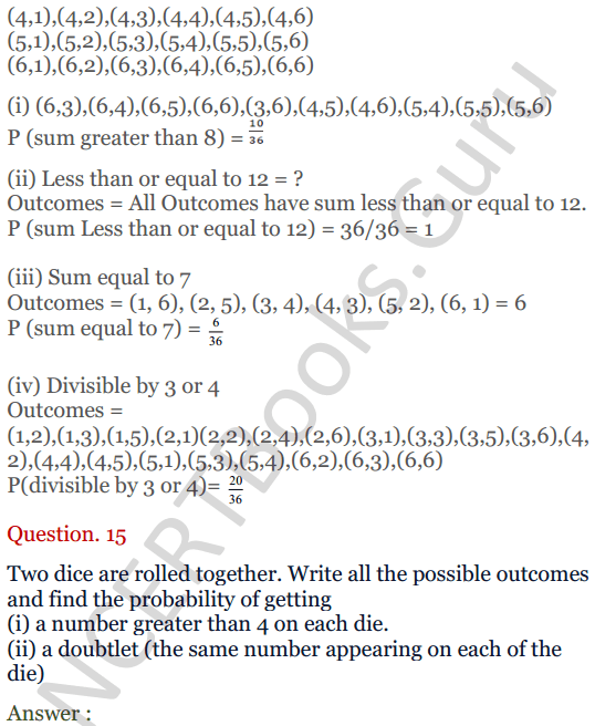 KC Sinha Maths Solutions Class 10 Chapter 15. Probability Ex.15 - 11