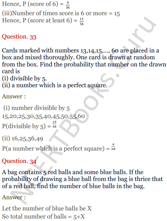 KC Sinha Maths Solutions Class 10 Chapter 15. Probability Ex.15 - 25