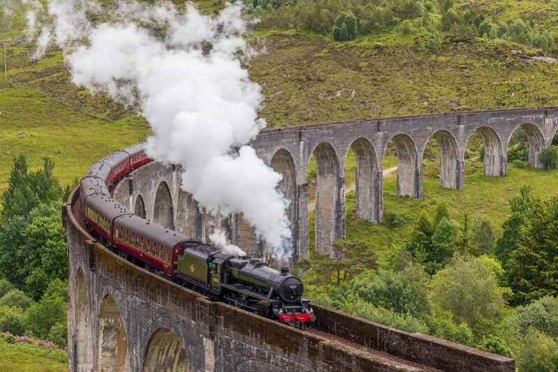The Harry Potter Train crossing the Glenfinnan Viaduct