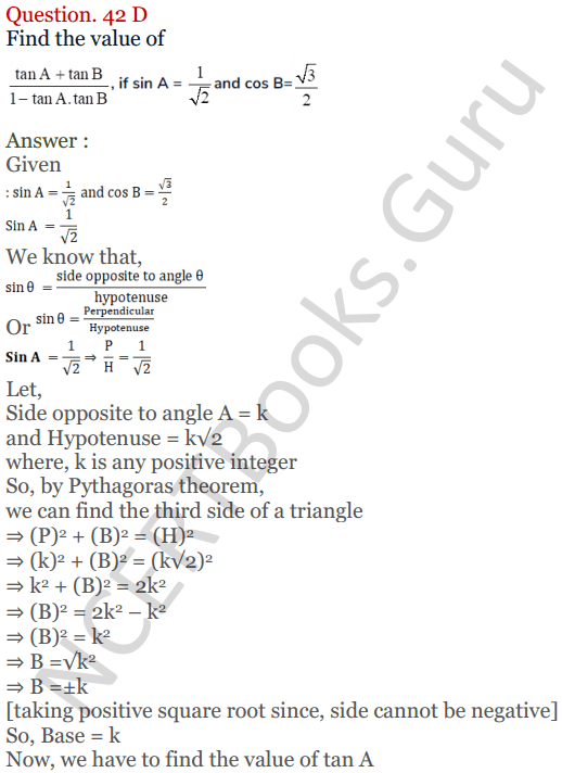 KC Sinha Maths Solutions Class 10 Chapter 4 Trigonometric Ratios and Identities Ex 4.1 - 95