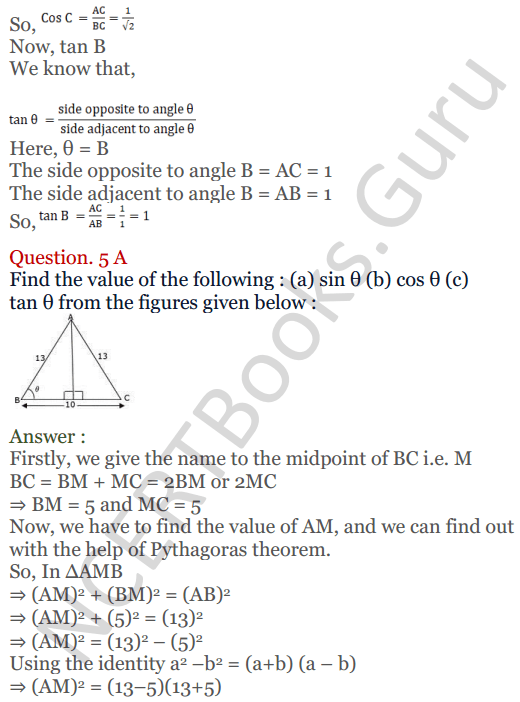 KC Sinha Maths Solutions Class 10 Chapter 4 Trigonometric Ratios and Identities Ex 4.1 - 12