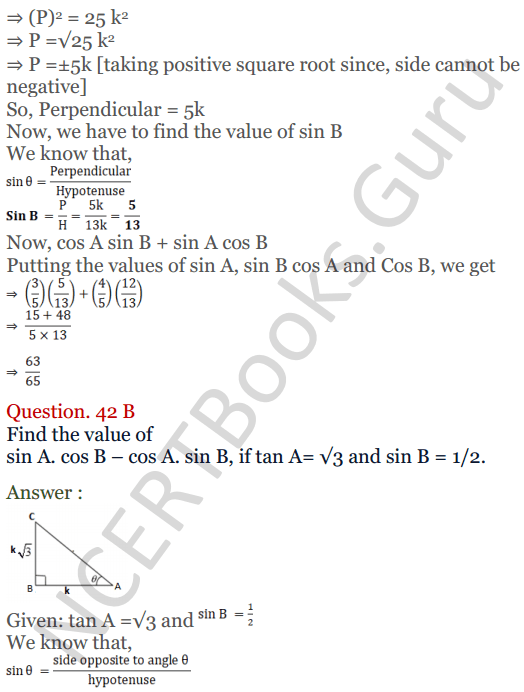 KC Sinha Maths Solutions Class 10 Chapter 4 Trigonometric Ratios and Identities Ex 4.1 - 89