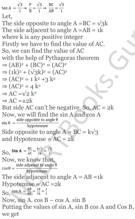KC Sinha Maths Solutions Class 10 Chapter 4 Trigonometric Ratios and Identities Ex 4.1 - 91