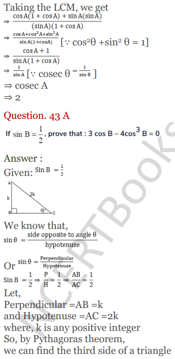 KC Sinha Maths Solutions Class 10 Chapter 4 Trigonometric Ratios and Identities Ex 4.1 - 99