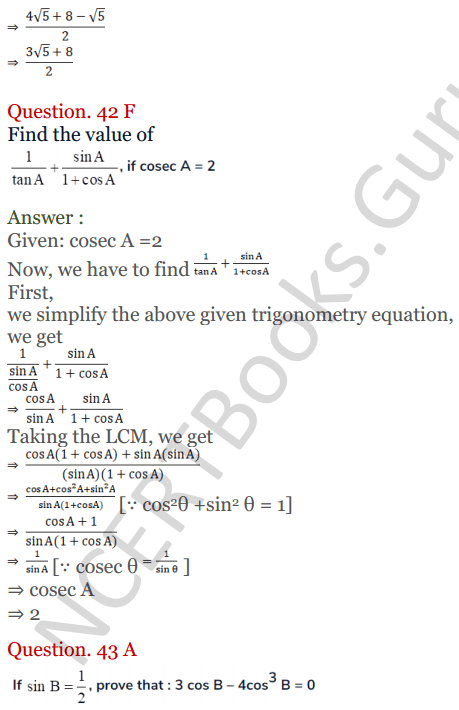 KC Sinha Maths Solutions Class 10 Chapter 4 Trigonometric Ratios and Identities Ex 4.1 - 105