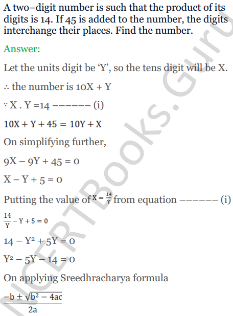 KC Sinha Maths Solutions Class 10 Chapter 7 Quadratic Equations Ex 7.5 - 10