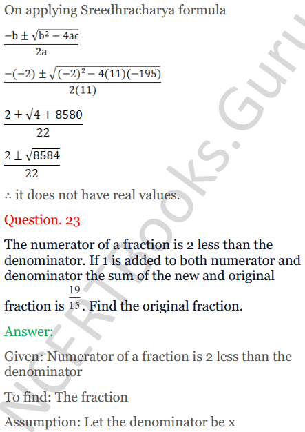 KC Sinha Maths Solutions Class 10 Chapter 7 Quadratic Equations Ex 7.5 - 34
