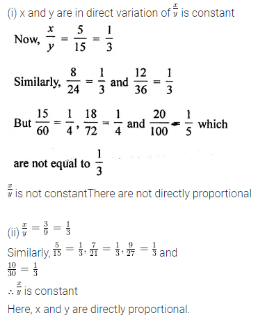 Maths Questions for Class 8 ICSE With Answers Chapter 9 Direct and Inverse Variation Ex 9.1 Q1.2