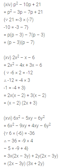 ML Aggarwal Class 8 Solutions Chapter 11 Factorisation Check Your Progress Q2.4