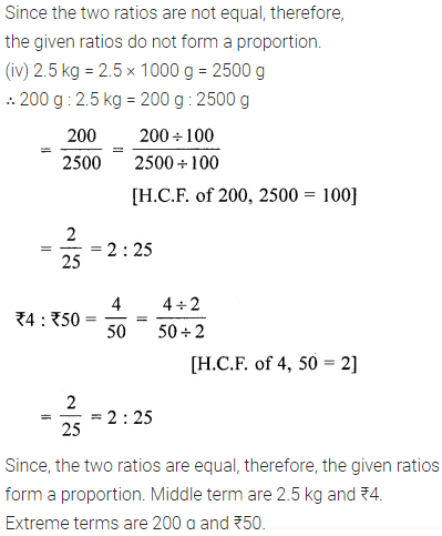 Class 6 Maths ICSE ML Aggarwal Chapter 8 Ratio and Proportion Ex 8.2