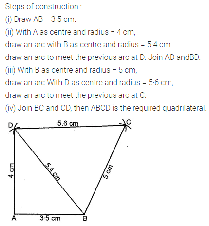 ML Aggarwal Class 8 Solutions for ICSE Maths Chapter 14 Constructions of Quadrilaterals Ex 14.1 Q2