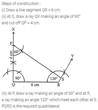 ML Aggarwal Class 8 Solutions for ICSE Maths Chapter 14 Constructions of Quadrilaterals Ex 14.1 Q6