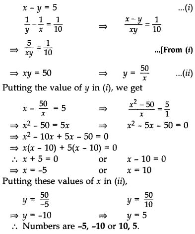 Important Questions for Class 10 Maths Chapter 4 Quadratic Equations 39