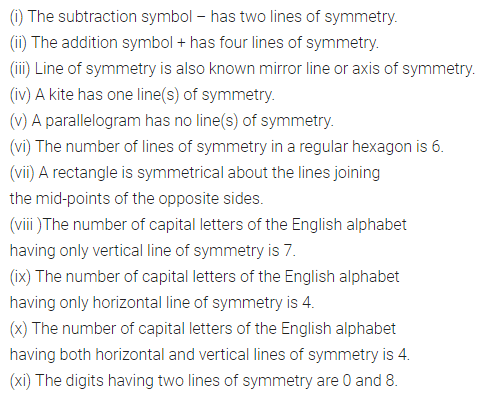 ICSE Class 6 Maths Chapter 12 Symmetry Objective Type Questions