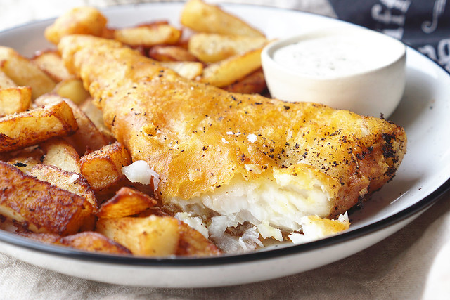 Homemade gluten free beer battered fish and chips