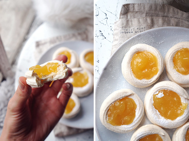 Mini meringue nests filled with lemon curd