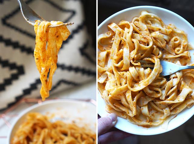 Homemade gluten free egg pasta (tagliatelle) with red pesto