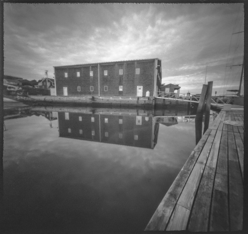 nautical warehouse, reflections, dock, harborside, Thomaston, Maine, 6x6 pinhole camera, Arista.Edu 200, HC-110 developer, July 2019