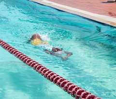 Participants demonstrating their newly found skill after participating in the 2019 'learn to swim' summer programme.